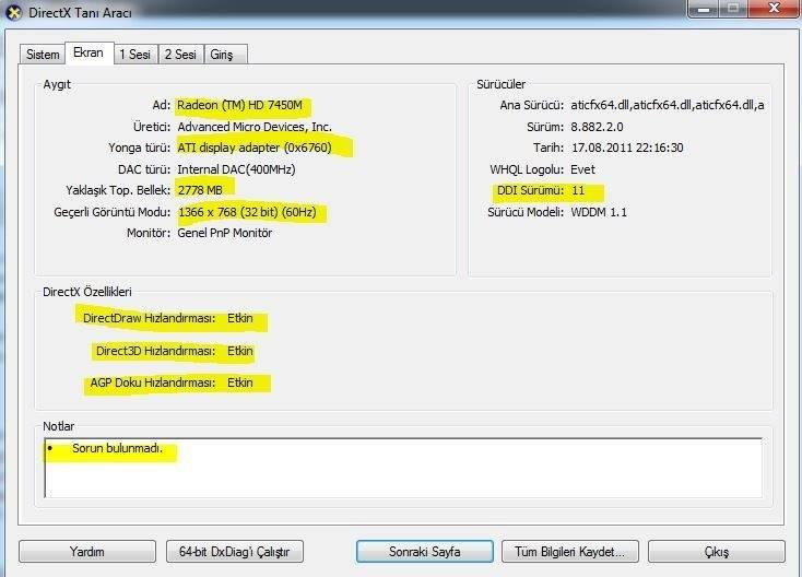 directx-ekran-karti-bilgisi DirectX Kontrol Merkezinin Ekranı Nasıl Açılır?